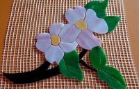 """Precut Stained Glass PINK DOGWOOD Mosaic Inlay Kit Garden Stone Tile 9"""" x 7"""""""