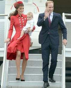 Kate is wearing a bright red coat from Catherine Walker - one of her more expensive outfit at £7,000 - paired with a Gina Foster hat ( £450 ) Acessorised with a brown clutch bag from Emmy Shoes with co ordinating shoes. She wears  Kiki McDonough Grace earrings and a diamond & platinum fern shaped brooch borrowed from the Queen ( the fern is the national symbol of New Zealand )