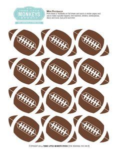 FREE Mini Football Toppers/Decor Printable by ThreeLittleMonkeysStudio.com Football Banquet, Football Cheer, Football Tailgate, Free Football, Football Birthday, Football Parties, Tailgating, Football Names, Football Pictures