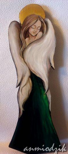 Zielony Anioł  angel acrylic painting on wood
