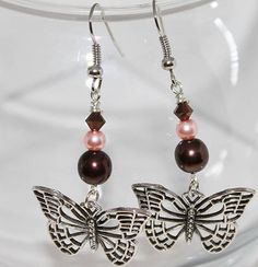 Silver Butterfly with Pink and Brown
