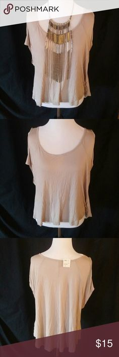 Forever 21 Flowy beige top This is an adorable flowy beige top new with tags size small. Necklaces not included. 100% rayon brand is Forever 21 Forever 21 Tops Tank Tops