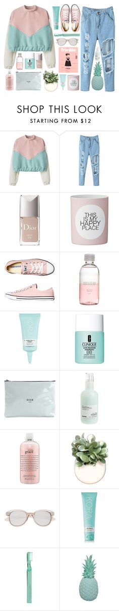 """Moonbeam"" by dana-rachel ❤ liked on Polyvore featuring Christian Dior, Converse, Lord & Berry, KORA Organics by Miranda Kerr, Clinique, Golden Goose, Davines, philosophy, WALL and Witchery"