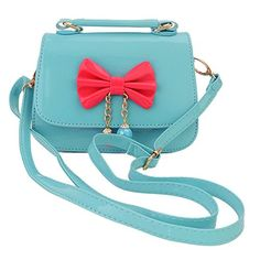Aligle Cute Little Girls Fashionable Handbag Small Preteen Girls Toy Kid Shoulder Purse Bag Mini Vintage Sweet Bowknot Adjustable PU Casual Messenger Shoulder Shoulder Bag Gift Blue green >>> You can find more details by visiting the image link.