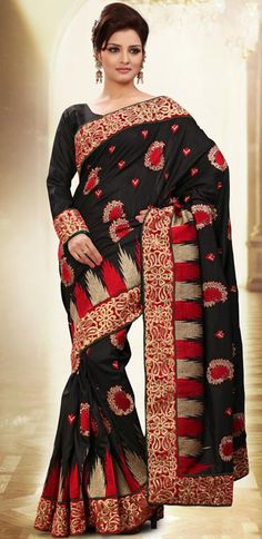 $84.61 Black Manipuri Silk Embroidery Saree 26101