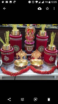 Kalash Decoration, Mandir Decoration, Diwali Decoration Items, Diwali Decorations At Home, Ganapati Decoration, Festival Decorations, Diwali Diy, Diwali Craft, Janmashtami Decoration
