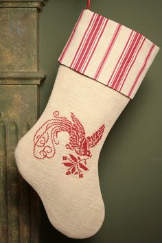 Vintage French Linen and Ticking Christmas Stocking with Redwork Antique Point de Croix Bird