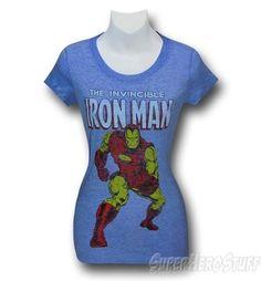 Iron Man Classic Heather Blue Juniors T-Shirt