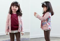 Korea children's No.1 Shopping Mall. EASY & LOVELY STYLE [COOKIE HOUSE] Rose Vine Cardigan / Size : 7-11 / Price : 16.28 USD #cute #koreakids #kids #kidsfashion #adorable #COOKIEHOUSE #OOTD #cardigan #pink #rose #lovely