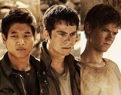 minho, thomas, and newt - the scorch trials Maze Runner Trilogy, Maze Runner Cast, Maze Runner The Scorch, Maze Runner Thomas, Maze Runner Series, Thomas Brodie Sangster, Dylan O'brien, Minho, Hunger Games