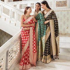 Pick a gorgeous Anita Dongre Banarasi saree in your favourite colour adorned with beautiful Gota Patti embellishments. Dori, pearls, Zardosi, Zari and sequin work and you will be amazed by the results. Anita Dongre, Indian Wedding Outfits, Bridal Outfits, Indian Outfits, Indian Clothes, Indian Weddings, Jaipur, Lehenga Sari, Sabyasachi Sarees