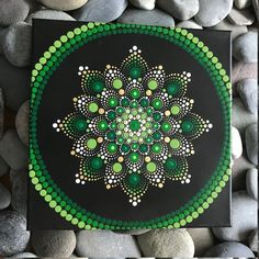 For sale is a hand-painted Mandala on a canvas. Painted with high-quality acrylic paints, with a gloss acrylic finish for protection. Colors in this Mandala are variations of Green with Gold accents. Each one is hand made and no two are alike Dot Art Painting, Rock Painting Designs, Mandala Painting, Painting Patterns, Stone Painting, Mandala Pattern, Mandala Design, Painted Rocks, Hand Painted