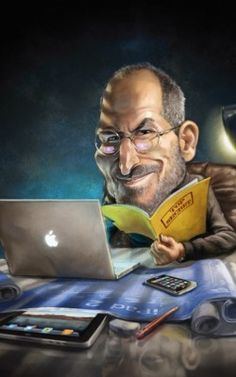 """Steve Jobs What do the next 12 months have in store for Apple?"""": Mac User, January by Howard McWilliam Funny Caricatures, Celebrity Caricatures, Steve Jobs 2011, Entertainment Jobs, Steve Jobs Apple, Silvester Stallone, Caricature Drawing, Drawing For Beginners, Portraits"""