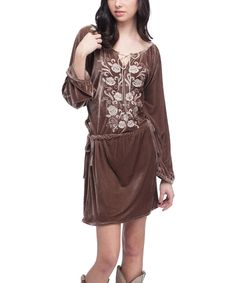 Take a look at this Rancho Estancia Taupe Embroidered Mercy Velvet Tunic on zulily today!