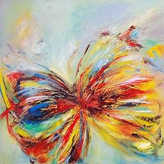 Gefii - 100% Hand-painted Abstract Painting Butterfly Wall Decor Landscape Paintings on Canvas 24x24 Inch Stretched and Framed Ready to Hang gefii http://www.amazon.com/dp/B00Q32F8NS/ref=cm_sw_r_pi_dp_8LLEvb0AYWMFC