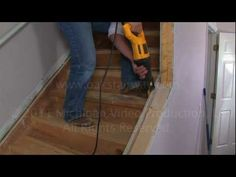 How to remove the nosing from a stairway so you can add a new oak stair tread. - YouTube