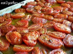 Roasting tomatoes is one of the quickest, easiest, and most flavorful ways to cook tomatoes. Up north our tomato season is once a year, and too short for my liking, so preserving my maters is esse… Oven Roasted Tomatoes, Roasted Vegetables, Roasting Tomatoes For Sauce, Vegetable Recipes, Vegetarian Recipes, Healthy Recipes, Vegetable Salads, Freezing Tomatoes, Freezing Vegetables