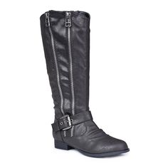 Twisted Women's Trooper Knee-High Faux Leather Double Zipper Riding Boot -- Be sure to check out this awesome product.