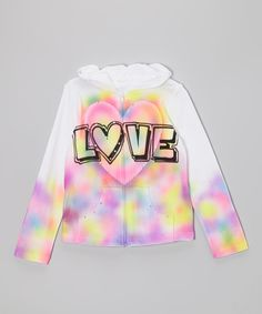 Take a look at this White 'Love' Heart Zip Hoodie - Toddler & Girls on zulily today!