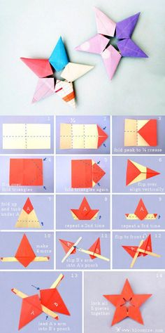 cute colorful origami stars, perfect for Tanabata :) Origami Noel, Paper Crafts Origami, Diy Origami, Diy Paper, Modular Origami, Origami For Christmas, Origami Folding, Art N Craft, Diy Art