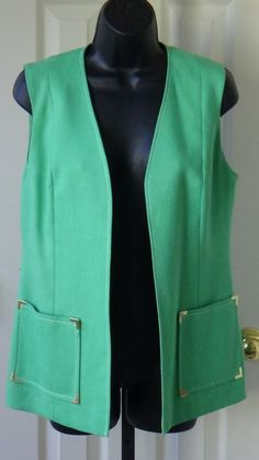 60s, mint green, vest with pockets, PSI, by JuniperLaneAZ on Etsy, $12.00