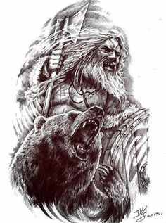 Viking and Bear, together as warriors Tattoo Thor, Heidnisches Tattoo, Pagan Tattoo, Norse Tattoo, Viking Tattoos, Bear Tattoos, Animal Tattoos, Body Art Tattoos, Sleeve Tattoos