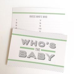 Take a trip down memory lane with this fun baby photo guessing game. Perfect for a baby shower.  In Garden Green.