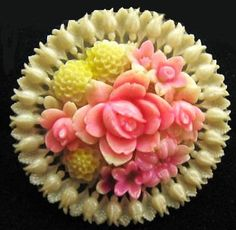 """Vintage Celluloid Floral Brooch Pin Signed Made Japan 1950s White Pink Yellow Silver Pin Clasp 2"""""""