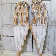 Large Wooden Angel Wings Wall Hanging Romantic Shabby Cottage Chic White Gold Angel Wing Set Distressed