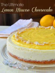 The Ultimate Lemon Cheesecake recipe has a lemon cookie base, lemon mousse cheesecake body, lemon curd topping and garnish of candied lemon peel. That will satisfy any lemon lover out there.