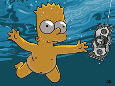Baby Bart Simpson re-enacted the Nirvana CD cover!