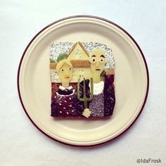 """American Gothic ""American Gothic"" - (toast, ricotta, prunes, dates, sesame seeds, poppy seeds, sugar peas, kiwi)"
