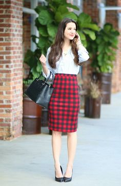Red plaid pencil skirt and pencil stripes. Perfect work combo.