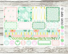 Aloha Breeze EC HORIZONTAL Planner Stickers by CricketPaperCo