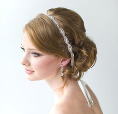 Wedding Hair Accessory, Beaded Headband, Bridal Headband, Crystal Ribbon Headband on Etsy, £24.20