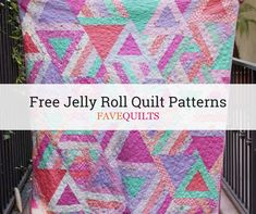 45 Free Jelly Roll Quilt Patterns: Can't get enough of precut quilting patterns? This list of jelly roll quilt patterns is perfect for you! Bargello Quilt Patterns, Beginner Quilt Patterns, Quilting For Beginners, Quilt Block Patterns, Pattern Blocks, Quilt Blocks, Quilting Templates, Quilting Tutorials, Quilting Projects