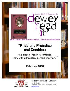 Dewey Read It? Teen Programs, Library Programs, Book Club Reads, Book Club Books, Pride And Prejudice And Zombies, What To Read, Check It Out, Programming, Thinking Of You