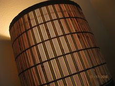 lampshade recover made from a table runner or bamboo placemat