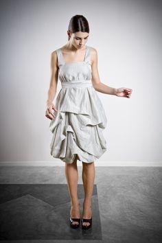 Light Silver Knee Length Dress Grey Bridesmaid by ElikaInLove Silver Bridesmaid Dresses, Grey Bridesmaids, Grey Outfit, Gray Dress, White Dress, Casual Dresses, Short Dresses, Prom Dresses, Draped Dress