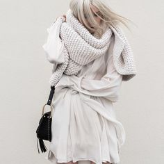 chunky knitted scarves, knits, off white knits