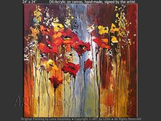"""Road To The Waterfall"" - Original Flower Paintings by Lena Karpinsky, http://www.artbylena.com/original-painting/21056/road-to-the-waterfall.html"