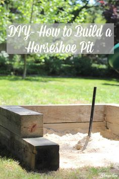 DIY How to Build a Horseshoe Pit - Lehman Lane <br> Today I am sharing all about how to build a Horseshoe pit for your backyard. It was super simple to make, inexpensive, and fun! Backyard Games, Backyard Projects, Backyard Patio, Diy Projects, Outdoor Games, Outdoor Fun, Backyard Designs, Backyard Retreat, Outdoor Ideas