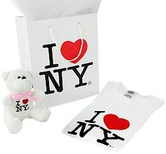 "CitySouvenirs.com - I Love NY Gift Package with T-Shirt, Bear and Bag, $15.99 (http://www.citysouvenirs.com/i-love-ny-gift-package-with-t-shirt-bear-and-bag/) I Love NY Gift Package  I Love NY Gift Package comes with: I Love NY T-shirt in White or Black  BLACK I Love NY Teddy Bear I Love NY Paper Gift Bag - 8"" x 10""  Great for your complete gift-giving needs!"