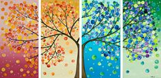 Tree painting Four season tree Original artwork gift for couple wall art canvas art four seasons tree - by qiqigallery Diy And Crafts, Arts And Crafts, Art Diy, Tree Wall, Tree Tree, Big Tree, Art Plastique, Oeuvre D'art, Artsy Fartsy
