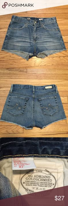 Adriano Goldschmied Farrah 70's denim shorts - 27 Adriano Goldschmied Farrah 70's denim shorts - 27. Waist - 14.5 inches. Rise - 9.5 inches. Length - 11 inches. Excellent condition. AG Adriano Goldschmied Shorts Jean Shorts