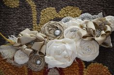 Bridal Sash Vintage Wedding Dress Sash Belt, Ivory Flower Wedding Dress Sash Rhinestone Sash, Bridesmaids sash, Vintage Photo Prop. $78.50, via Etsy.