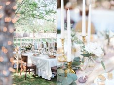 Lovely romantic backyard wedding table inspiration with gold candlesticks and tapers, lace, and cheesecloth, with a sprig of rosemary.  Romantic blush backyard Arizona garden wedding by Pinkerton Photography, Arizona Wedding Photographer.