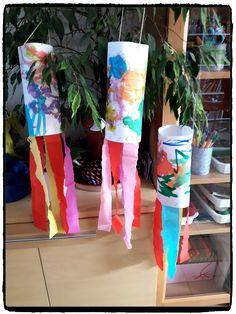 suspensions multicolores, printemps, arc en ciel, bricolage enfant