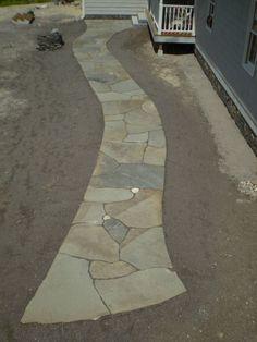 Bluestone Walkway With Inlaid Fieldstones, Raymond, Maine