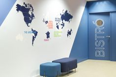 Office / Axa Insurance Blue colors to design a world map in line with the brand.
